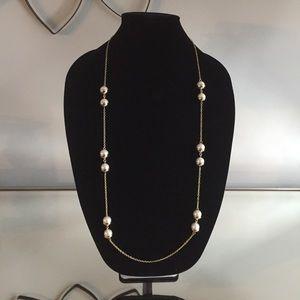 Alfani Gold Pearl Long Necklace